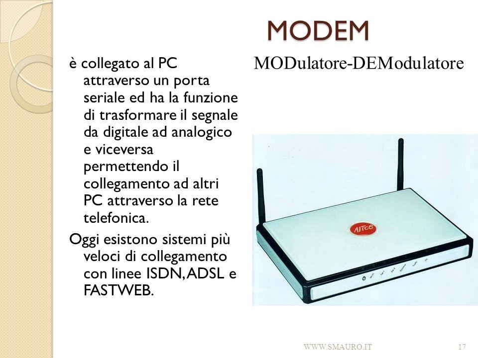 MODEM è collegato al PC attraverso un porta seriale ed ha la funzione di trasformare il segnale da digitale ad analogico e viceversa permettendo il co