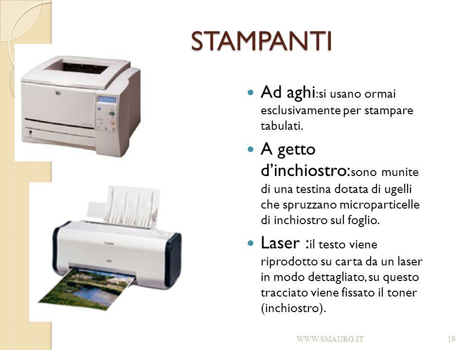 STAMPANTI Ad aghi :si usano ormai esclusivamente per stampare tabulati. A getto dinchiostro: sono munite di una testina dotata di ugelli che spruzzano