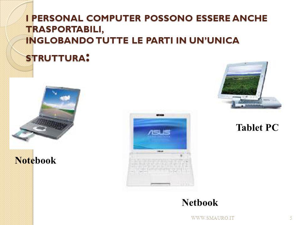 I PERSONAL COMPUTER POSSONO ESSERE ANCHE TRASPORTABILI, INGLOBANDO TUTTE LE PARTI IN UNUNICA STRUTTURA : WWW.SMAURO.IT5 Notebook Tablet PC Netbook