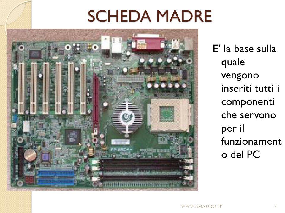 SCHEDA MADRE E la base sulla quale vengono inseriti tutti i componenti che servono per il funzionament o del PC WWW.SMAURO.IT7