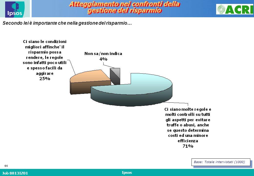Job 8813IZ01 Ipsos 44 Secondo lei è importante che nella gestione del risparmio… Atteggiamento nei confronti della gestione del risparmio Atteggiamento nei confronti della gestione del risparmio Base: Totale intervistati (1000)