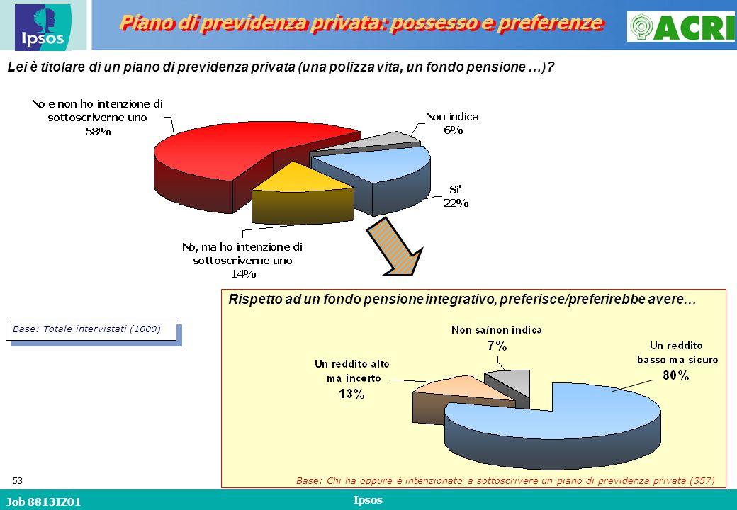 Job 8813IZ01 Ipsos 53 Lei è titolare di un piano di previdenza privata (una polizza vita, un fondo pensione …).