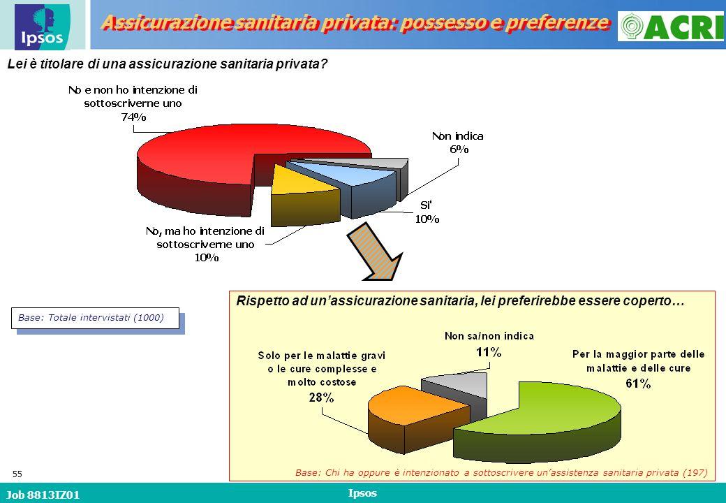 Job 8813IZ01 Ipsos 55 Lei è titolare di una assicurazione sanitaria privata.
