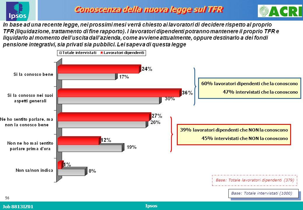 Job 8813IZ01 Ipsos 56 In base ad una recente legge, nei prossimi mesi verrà chiesto ai lavoratori di decidere rispetto al proprio TFR (liquidazione, trattamento di fine rapporto).