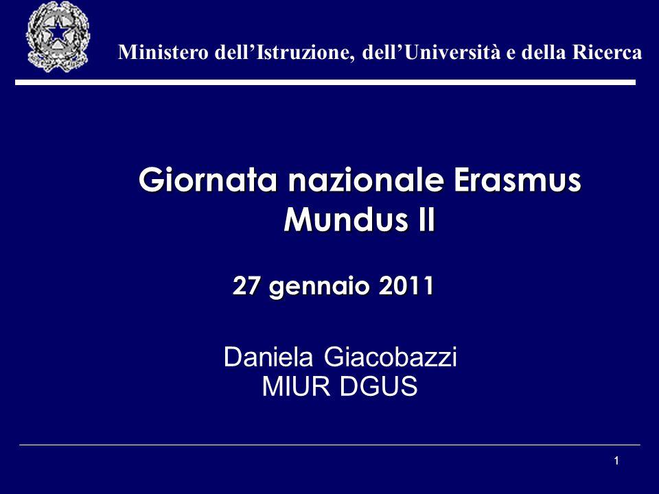 1 Daniela Giacobazzi MIUR DGUS Ministero dellIstruzione, dellUniversità e della Ricerca 27 gennaio 2011 Giornata nazionale Erasmus Mundus II