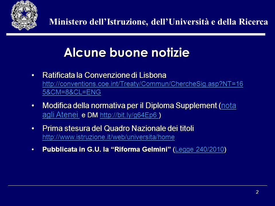 2 Ministero dellIstruzione, dellUniversità e della Ricerca Ratificata la Convenzione di Lisbona http://conventions.coe.int/Treaty/Commun/ChercheSig.as