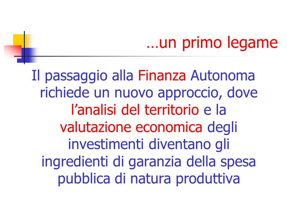 …un primo legame Il passaggio alla Finanza Autonoma richiede un nuovo approccio, dove lanalisi del territorio e la valutazione economica degli investimenti diventano gli ingredienti di garanzia della spesa pubblica di natura produttiva
