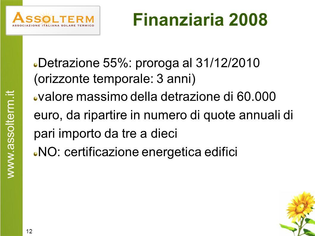 www.assolterm.it 12 Finanziaria 2008 Detrazione 55%: proroga al 31/12/2010 (orizzonte temporale: 3 anni) valore massimo della detrazione di 60.000 euro, da ripartire in numero di quote annuali di pari importo da tre a dieci NO: certificazione energetica edifici