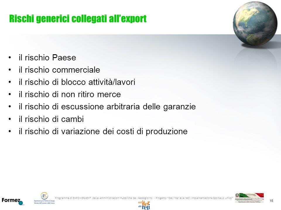 Programma di EMPOWERMENT delle Amministrazioni Pubbliche del Mezzogiorno - Progetto Dalliter alle reti: Implementazione Sportello Unico 16 Rischi gene