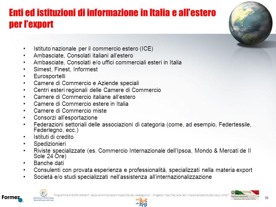 Programma di EMPOWERMENT delle Amministrazioni Pubbliche del Mezzogiorno - Progetto Dalliter alle reti: Implementazione Sportello Unico 39 Enti ed ist