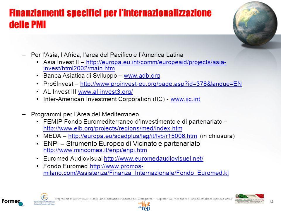Programma di EMPOWERMENT delle Amministrazioni Pubbliche del Mezzogiorno - Progetto Dalliter alle reti: Implementazione Sportello Unico 42 Finanziamen