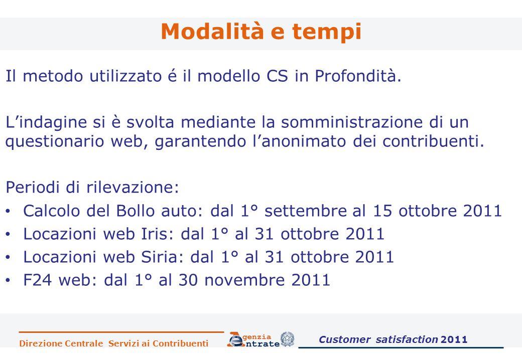 Direzione Centrale Servizi ai Contribuenti Modalità e tempi Il metodo utilizzato é il modello CS in Profondità. Lindagine si è svolta mediante la somm