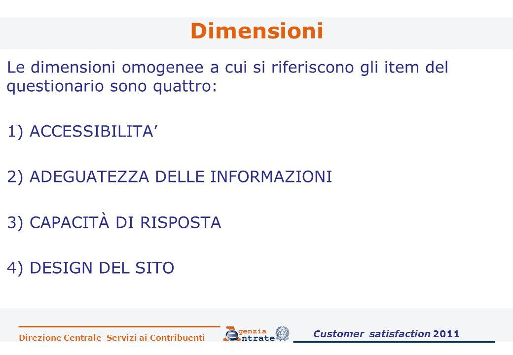 Direzione Centrale Servizi ai Contribuenti Dimensioni Le dimensioni omogenee a cui si riferiscono gli item del questionario sono quattro: 1) ACCESSIBI