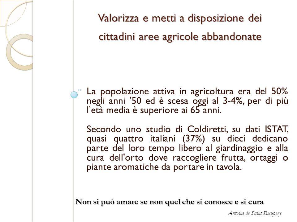 Valorizza e metti a disposizione dei cittadini aree agricole abbandonate La popolazione attiva in agricoltura era del 50% negli anni 50 ed è scesa ogg