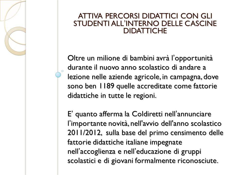 Secondo la Coldiretti il Piemonte - con 206 strutture è la regione con il maggior numero di fattorie didattiche della rete seguito dal Veneto (136), dalla Puglia (118), dalla Campania (108), fino alla Sicilia (12) e dal Molise (6).