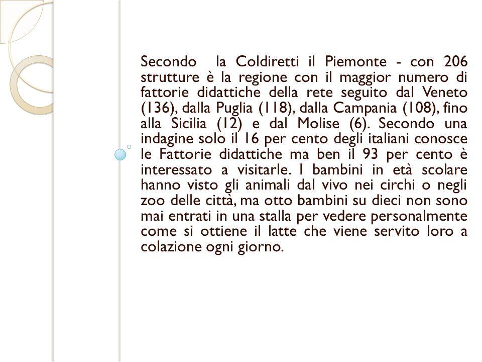 Secondo la Coldiretti il Piemonte - con 206 strutture è la regione con il maggior numero di fattorie didattiche della rete seguito dal Veneto (136), d