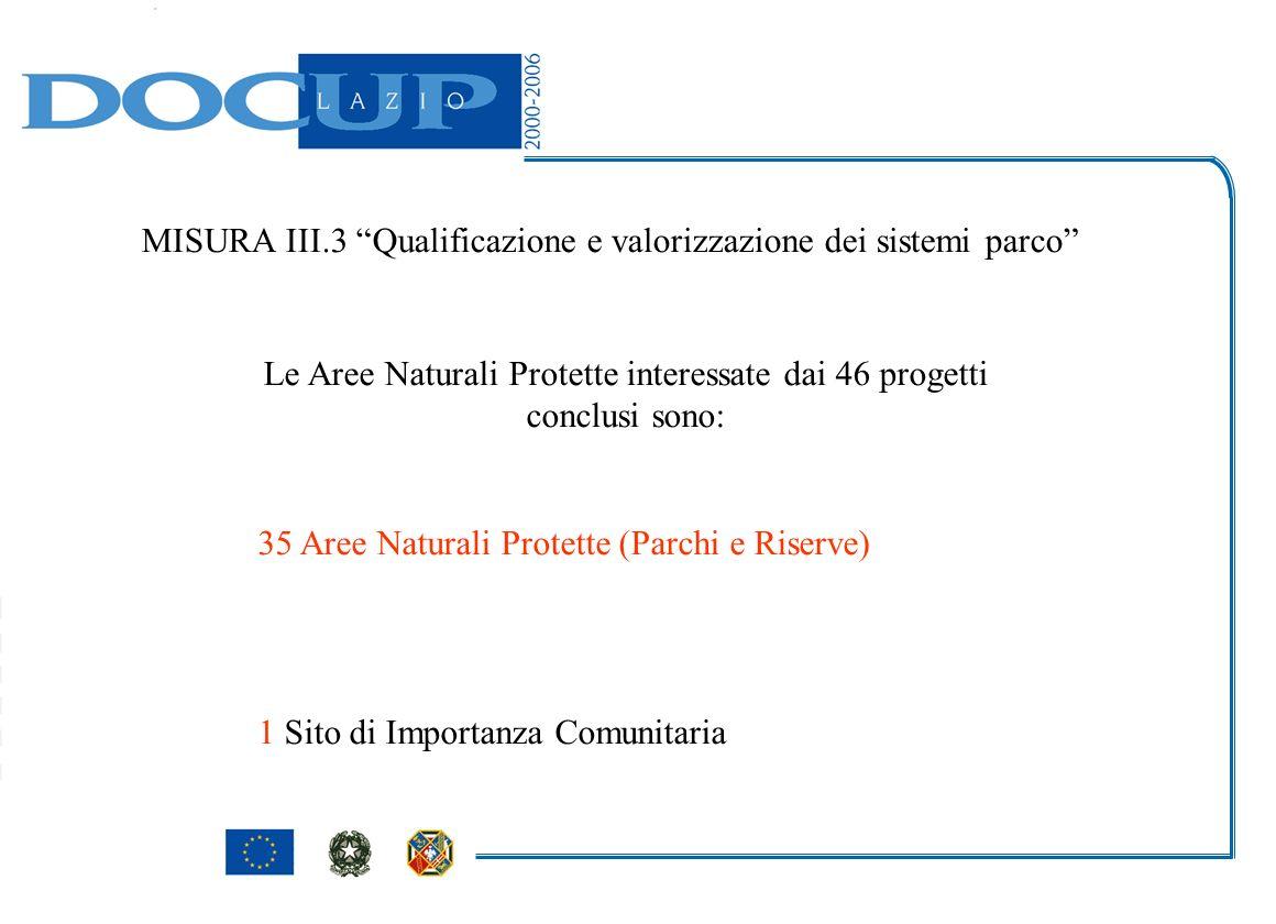 MISURA III.3 Qualificazione e valorizzazione dei sistemi parco Le Aree Naturali Protette interessate dai 46 progetti conclusi sono: 35 Aree Naturali Protette (Parchi e Riserve) 1 Sito di Importanza Comunitaria