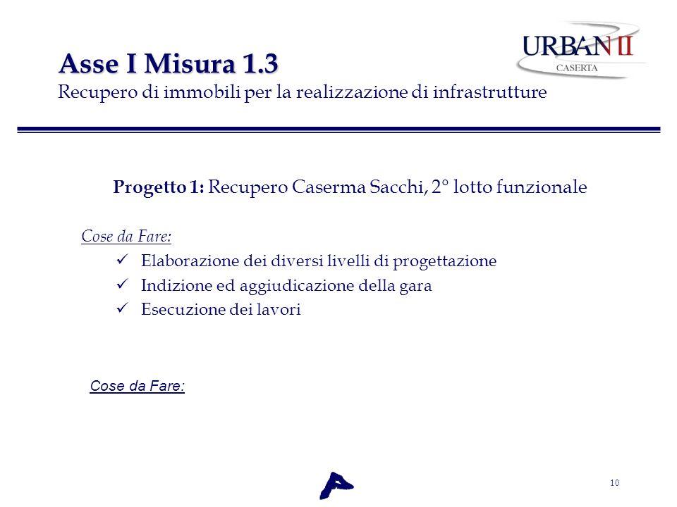 10 Asse I Misura 1.3 Asse I Misura 1.3 Recupero di immobili per la realizzazione di infrastrutture Progetto 1: Recupero Caserma Sacchi, 2° lotto funzi