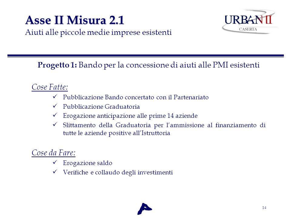 14 Asse II Misura 2.1 Asse II Misura 2.1 Aiuti alle piccole medie imprese esistenti Progetto 1: Bando per la concessione di aiuti alle PMI esistenti C