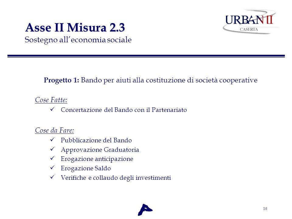 16 Asse II Misura 2.3 Asse II Misura 2.3 Sostegno alleconomia sociale Progetto 1: Bando per aiuti alla costituzione di società cooperative Cose Fatte: