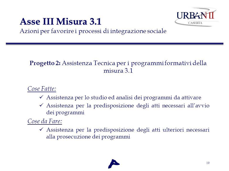 19 Asse III Misura 3.1 Asse III Misura 3.1 Azioni per favorire i processi di integrazione sociale Progetto 2: Assistenza Tecnica per i programmi forma