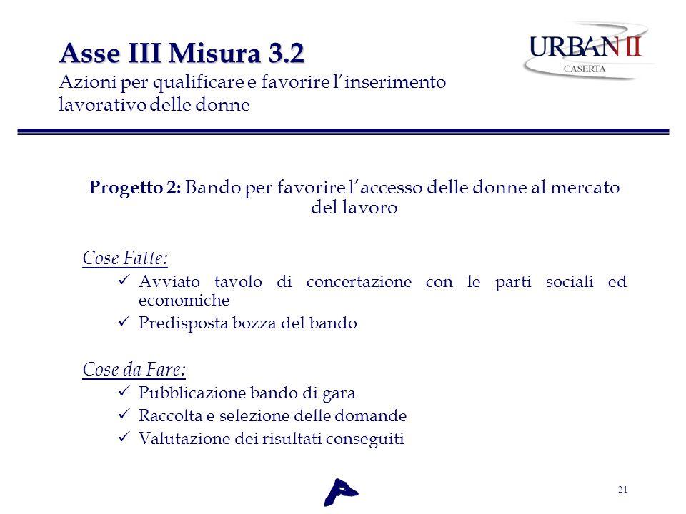 21 Asse III Misura 3.2 Asse III Misura 3.2 Azioni per qualificare e favorire linserimento lavorativo delle donne Progetto 2: Bando per favorire lacces