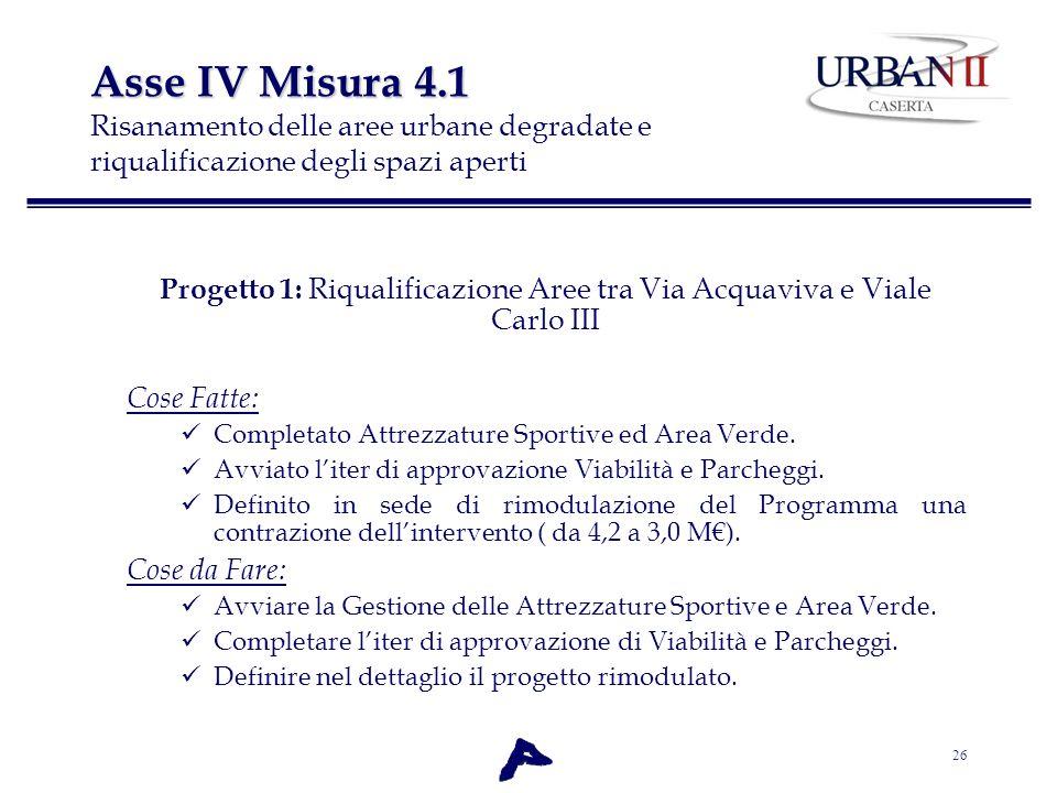 26 Asse IV Misura 4.1 Asse IV Misura 4.1 Risanamento delle aree urbane degradate e riqualificazione degli spazi aperti Progetto 1: Riqualificazione Ar