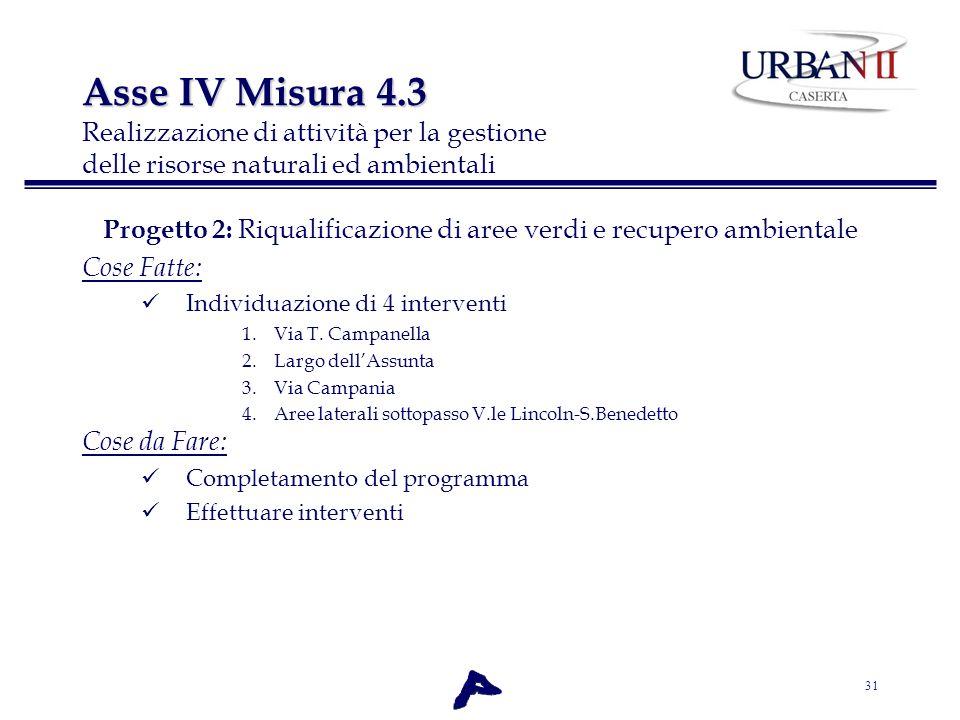 31 Progetto 2: Riqualificazione di aree verdi e recupero ambientale Cose Fatte: Individuazione di 4 interventi 1.Via T. Campanella 2.Largo dellAssunta