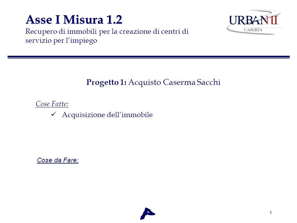 8 Asse I Misura 1.2 Asse I Misura 1.2 Recupero di immobili per la creazione di centri di servizio per limpiego Progetto 1: Acquisto Caserma Sacchi Cos