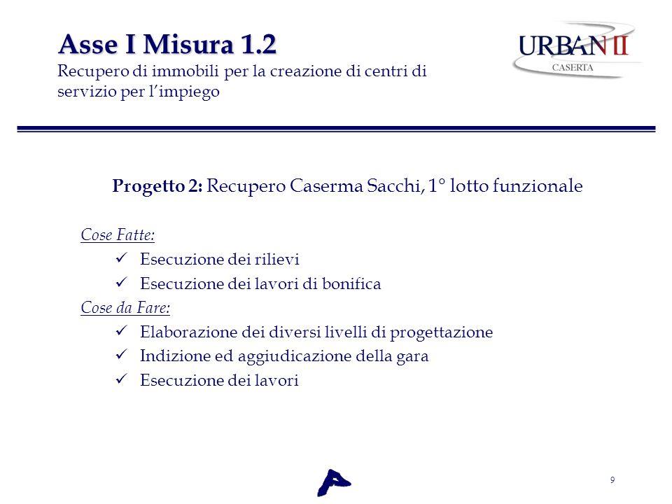 9 Asse I Misura 1.2 Asse I Misura 1.2 Recupero di immobili per la creazione di centri di servizio per limpiego Progetto 2: Recupero Caserma Sacchi, 1°