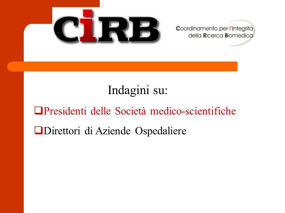 Indagini su: Presidenti delle Società medico-scientifiche Direttori di Aziende Ospedaliere