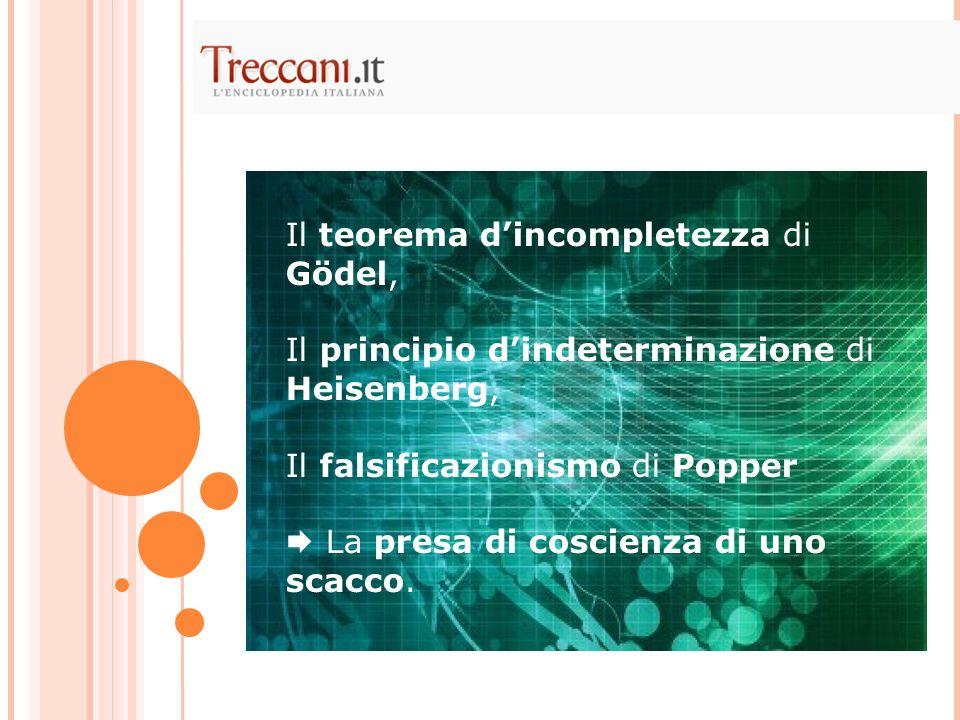 Il teorema dincompletezza di Gödel, Il principio dindeterminazione di Heisenberg, Il falsificazionismo di Popper La presa di coscienza di uno scacco.