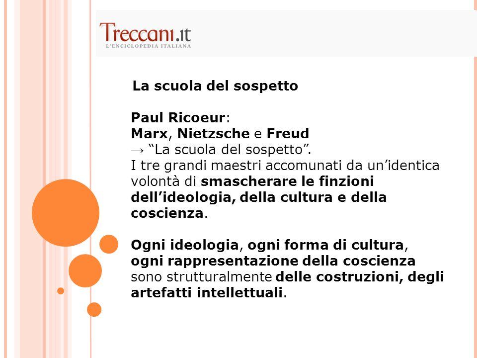 Paul Ricoeur: Marx, Nietzsche e Freud La scuola del sospetto.