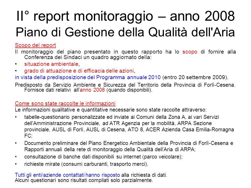 II° report monitoraggio – anno 2008 Piano di Gestione della Qualità dell'Aria Scopo del report Il monitoraggio del piano presentato in questo rapporto