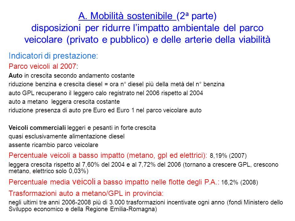 A. Mobilità sostenibile (2 a parte) disposizioni per ridurre limpatto ambientale del parco veicolare (privato e pubblico) e delle arterie della viabil
