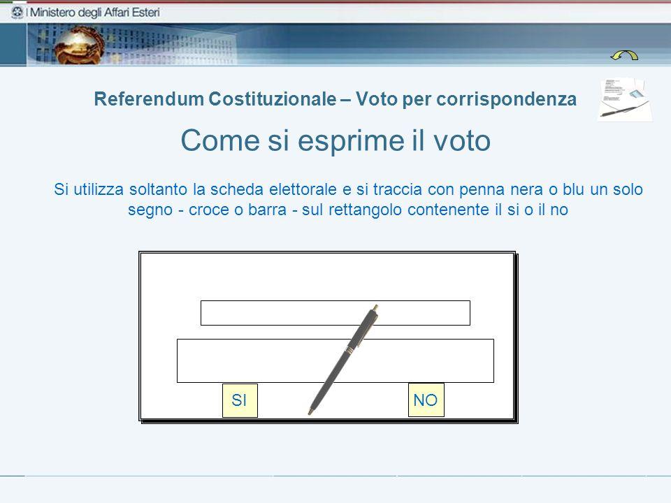 Referendum Costituzionale – Voto per corrispondenza Come si esprime il voto Si utilizza soltanto la scheda elettorale e si traccia con penna nera o bl