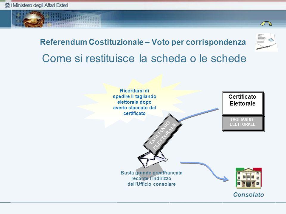 Referendum Costituzionale – Voto per corrispondenza Busta grande preaffrancata recante lindirizzo dellUfficio consolare Consolato Certificato Elettora