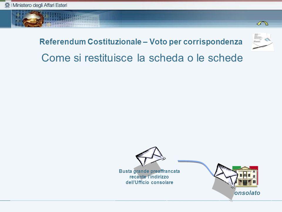 Consolato Busta grande preaffrancata recante lindirizzo dellUfficio consolare Referendum Costituzionale – Voto per corrispondenza Come si restituisce