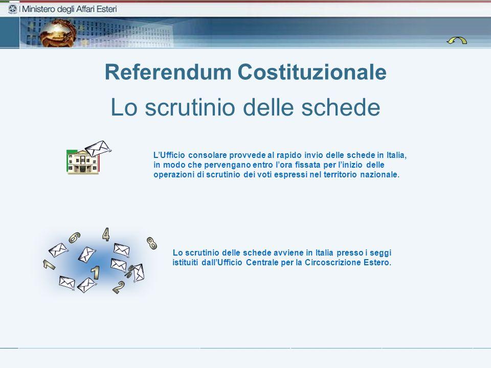 Referendum Costituzionale Lo scrutinio delle schede Lo scrutinio delle schede avviene in Italia presso i seggi istituiti dallUfficio Centrale per la C