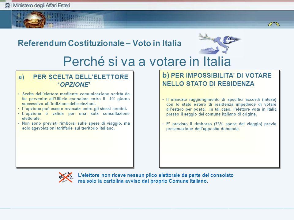 Referendum Costituzionale – Voto in Italia Perché si va a votare in Italia Lelettore non riceve nessun plico elettorale da parte del consolato ma solo