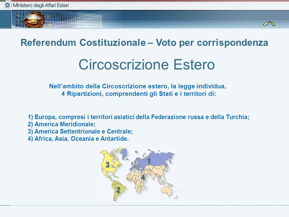 Nellambito della Circoscrizione estero, la legge individua, 4 Ripartizioni, comprendenti gli Stati e i territori di: Referendum Costituzionale – Voto