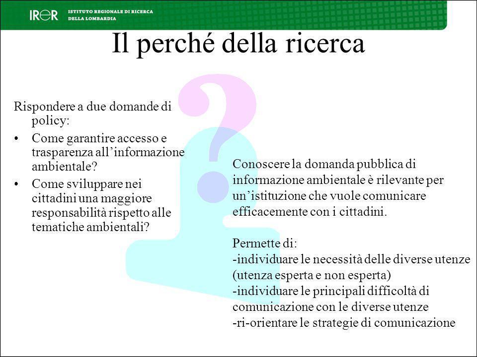 Il perché della ricerca Rispondere a due domande di policy: Come garantire accesso e trasparenza allinformazione ambientale.