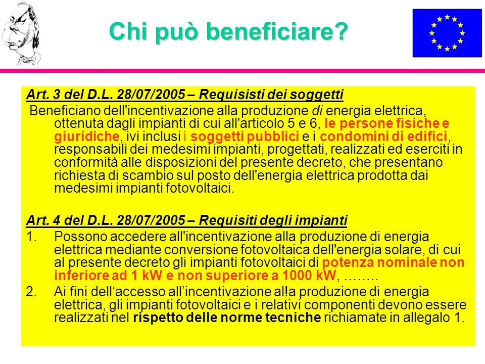 Chi può beneficiare? Art. 3 del D.L. 28/07/2005 – Requisisti dei soggetti Beneficiano dell'incentivazione alla produzione di energia elettrica, ottenu