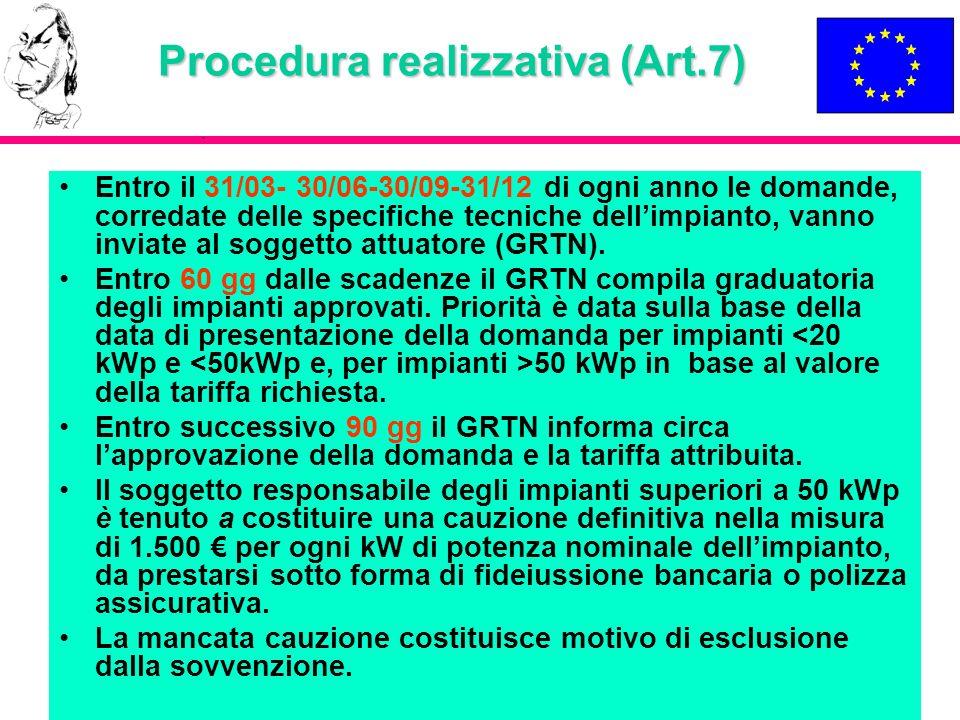 Procedura realizzativa (Art.7) Entro il 31/03- 30/06-30/09-31/12 di ogni anno le domande, corredate delle specifiche tecniche dellimpianto, vanno invi
