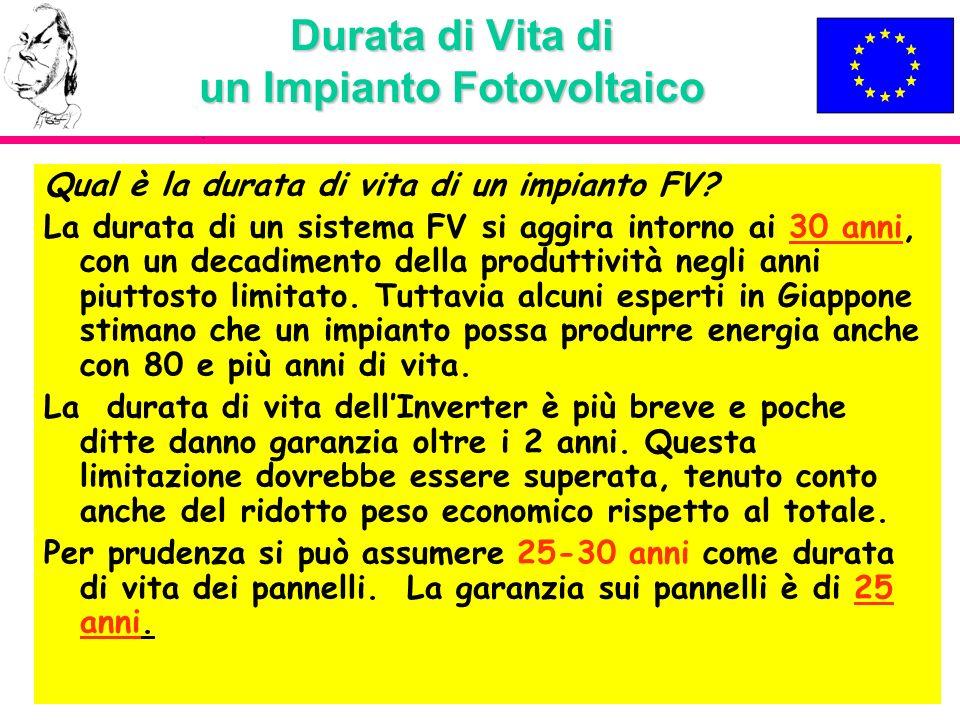 Durata di Vita di un Impianto Fotovoltaico Qual è la durata di vita di un impianto FV? La durata di un sistema FV si aggira intorno ai 30 anni, con un