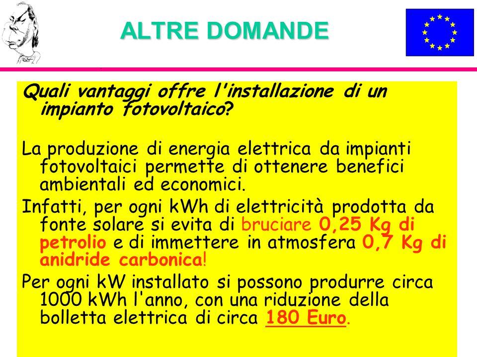 ALTRE DOMANDE Quali vantaggi offre l'installazione di un impianto fotovoltaico? La produzione di energia elettrica da impianti fotovoltaici permette d