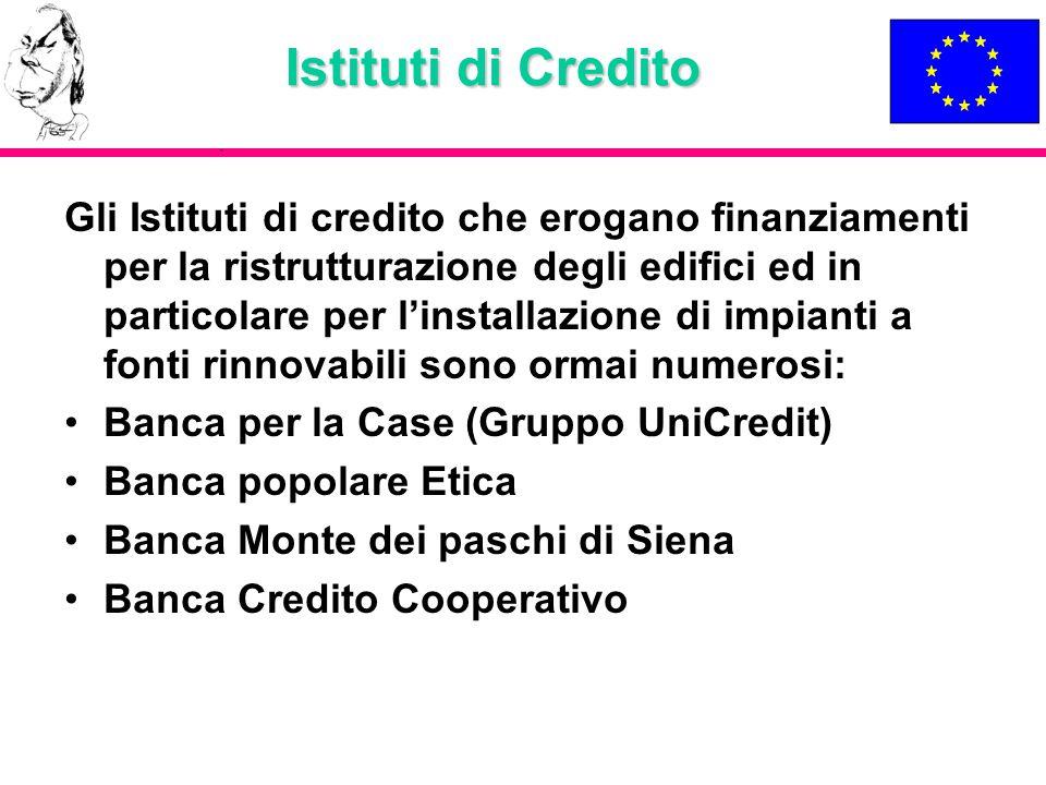 Istituti di Credito Gli Istituti di credito che erogano finanziamenti per la ristrutturazione degli edifici ed in particolare per linstallazione di im