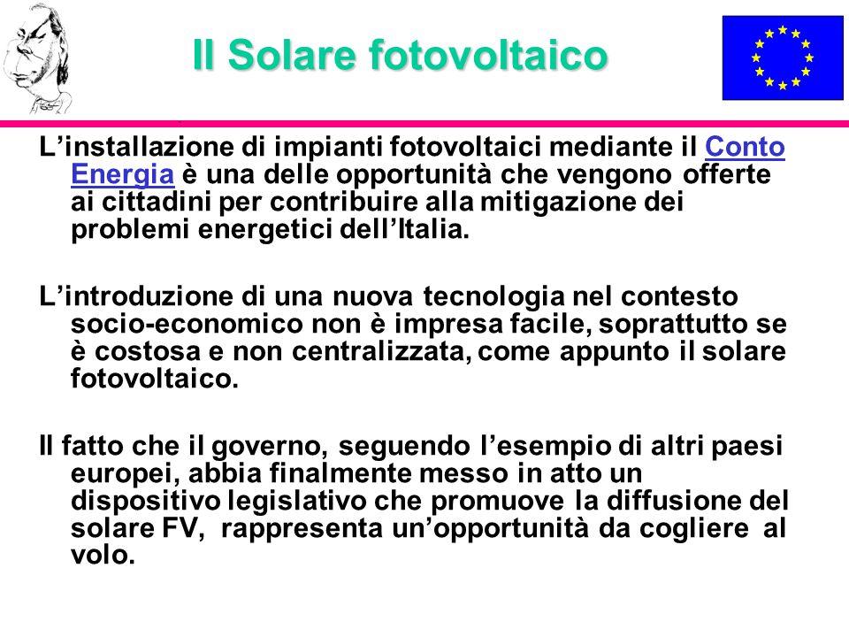 Il Solare fotovoltaico Linstallazione di impianti fotovoltaici mediante il Conto Energia è una delle opportunità che vengono offerte ai cittadini per