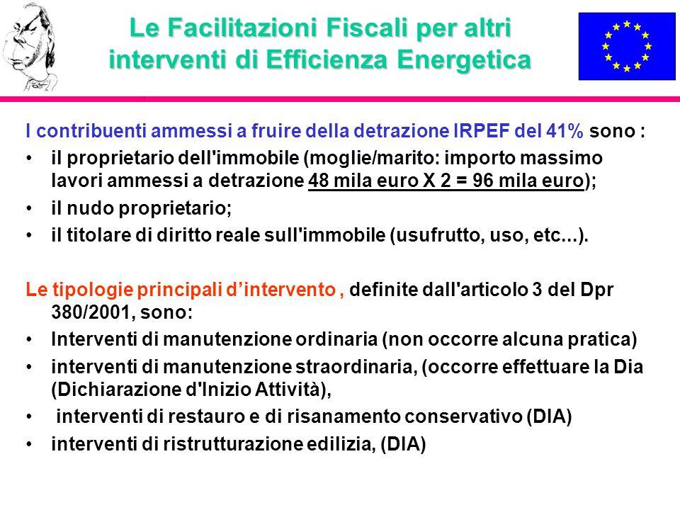 Le Facilitazioni Fiscali per altri interventi di Efficienza Energetica I contribuenti ammessi a fruire della detrazione IRPEF del 41% sono : il propri