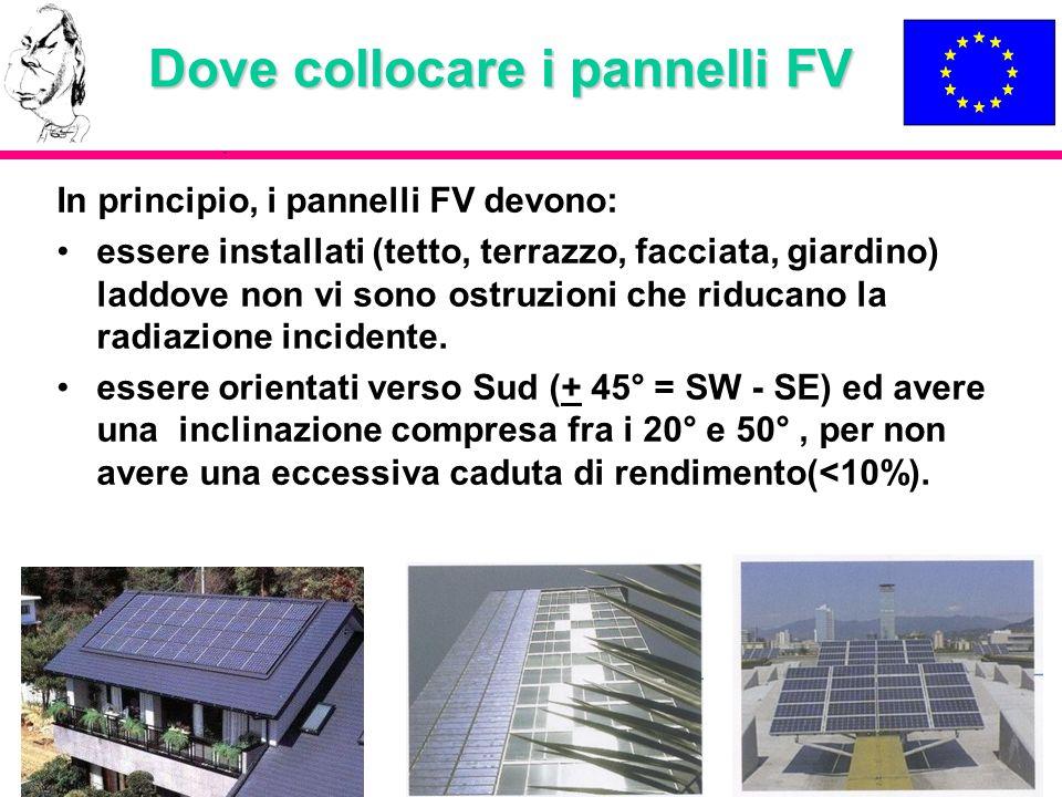 Dove collocare i pannelli FV In principio, i pannelli FV devono: essere installati (tetto, terrazzo, facciata, giardino) laddove non vi sono ostruzion